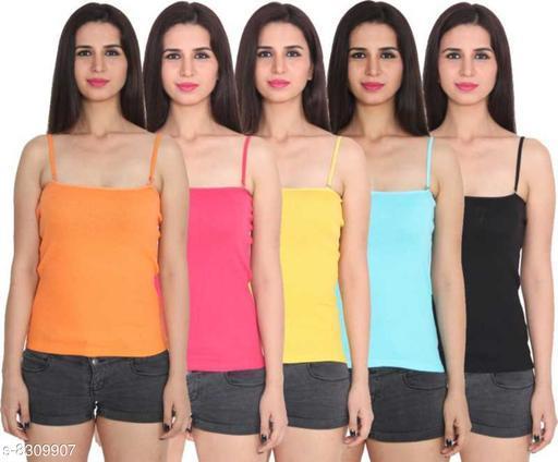 Women Pack of 5 Orange Cotton Blend Camisoles
