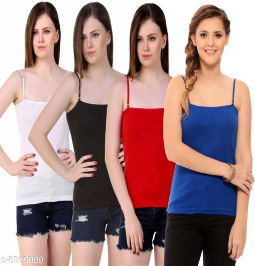Women Pack of 4 Red Cotton Blend Camisoles