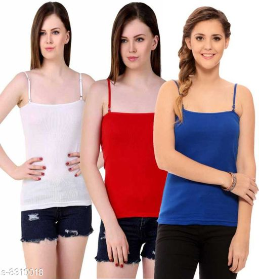 Women Pack of 3 Red Cotton Blend Camisoles