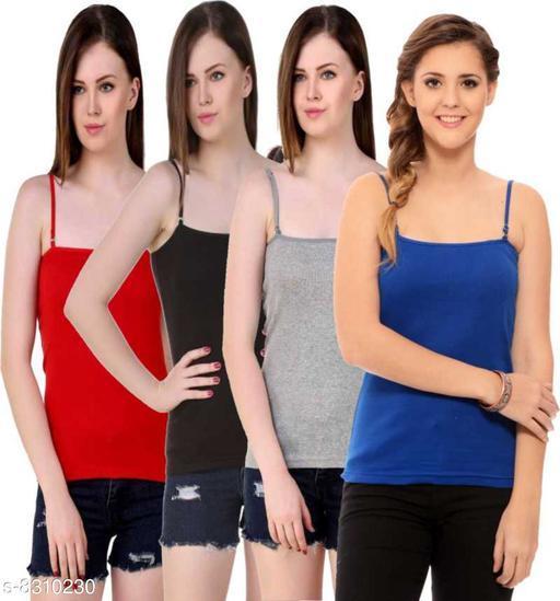 Women Pack of 4 Black Cotton Blend Camisoles
