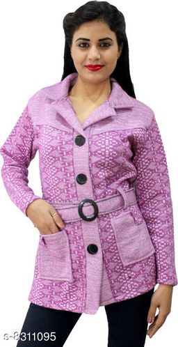 Casual Wear Smart Coat Style Cardigan with belt-Purple