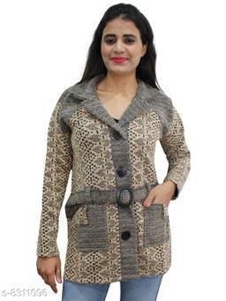 Casual Wear Smart Coat Style Cardigan with belt-Beige