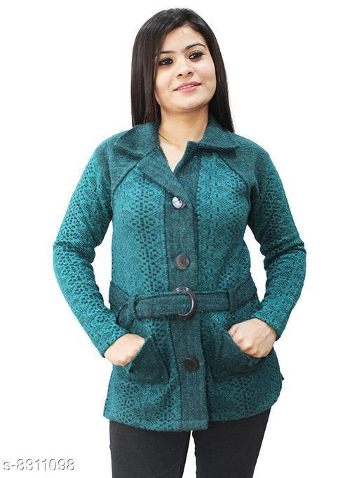 Casual Wear Smart Coat Style Cardigan with belt-Green