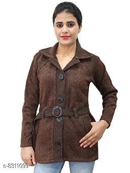 Casual Wear Smart Coat Style Cardigan with belt-Dark Brown