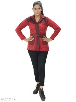 Casual Wear Smart Coat Style Cardigan with belt-Red