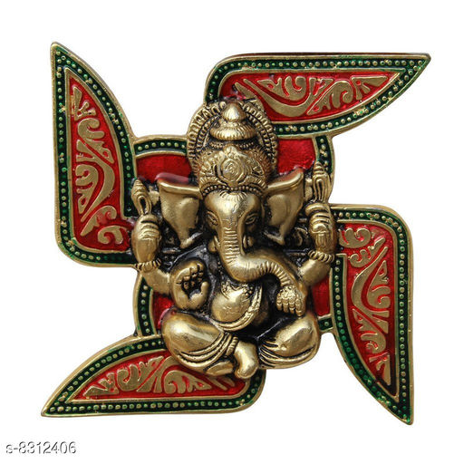 Vaastu Showpieces Ganesha Placed on Swastik Aluminium Metal Wall Hanging  *Material* Brass  *Pack* Pack of 1  *Sizes Available* Free Size *    Catalog Name: Essential Idols & Figurines CatalogID_1391403 C139-SC1680 Code: 239-8312406-