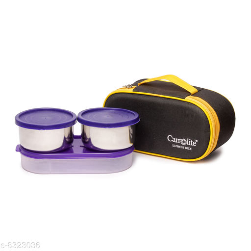 Excotic Black-Yellow 3 Purple Containers Lunchbox 800 ml