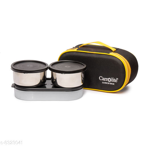 Excotic Black-Yellow 3 Black Containers Lunchbox 800 ml
