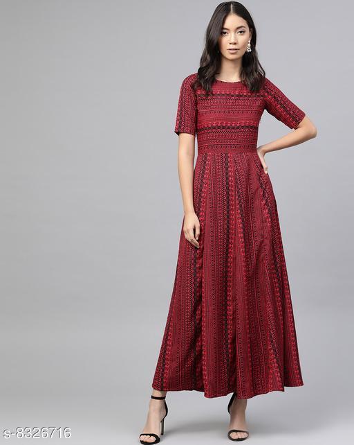 Trendy Maroon Aztec Borders Print Designer Maxi Dress