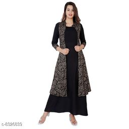 WOMEN'S TRENDY GOLD PRINTED  JACKET WITH GOWN