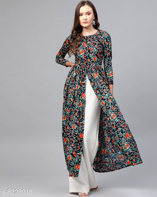 Stylish Navy Blue Floral Print High Slit Maxi Dress
