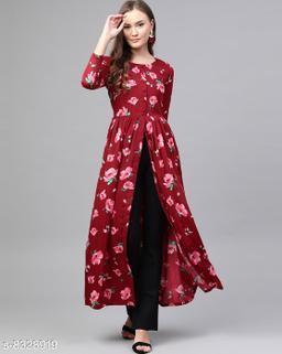 Stylish Burgundy & Pink Floral Print High Slit Maxi Dress