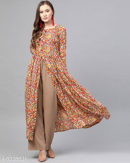 Stylish Beige & Maroon Kalamkari Printed High Slit Maxi Dress