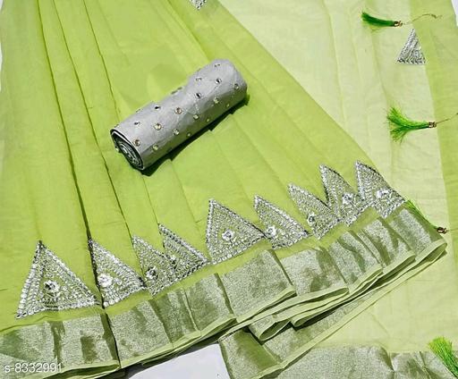 Minimal Design Green Linen Saree