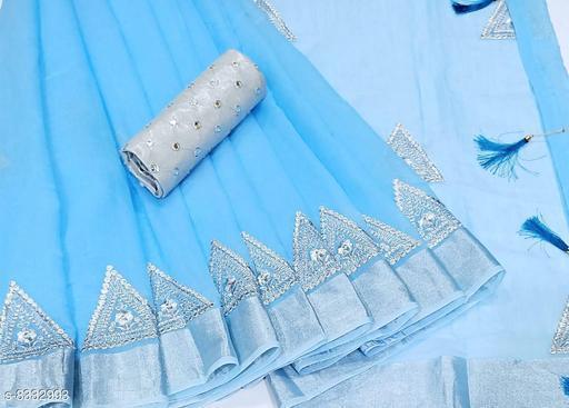 Minimal Design Sky blue Linen Saree