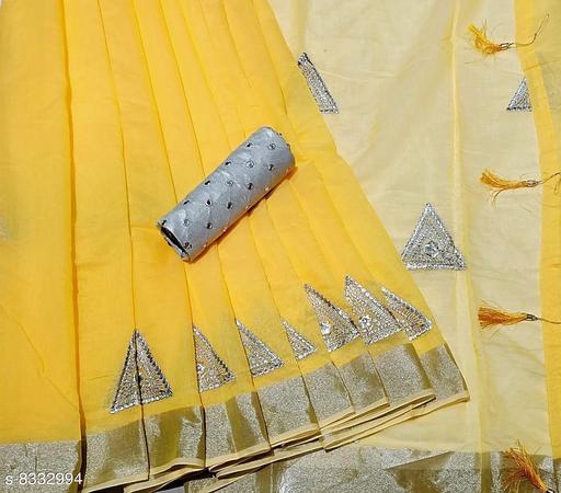 Minimal Design Yellow Linen Saree
