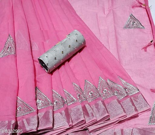 Minimal Design Pink Linen Saree