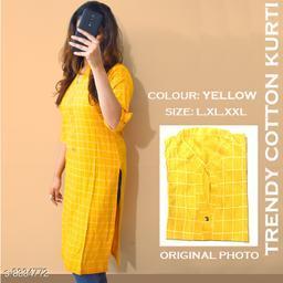 Women Cotton Linen A-line Printed Yellow Kurti