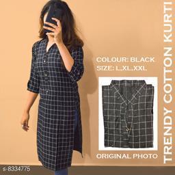 Women's Black Printed Cotton Linen Kurti