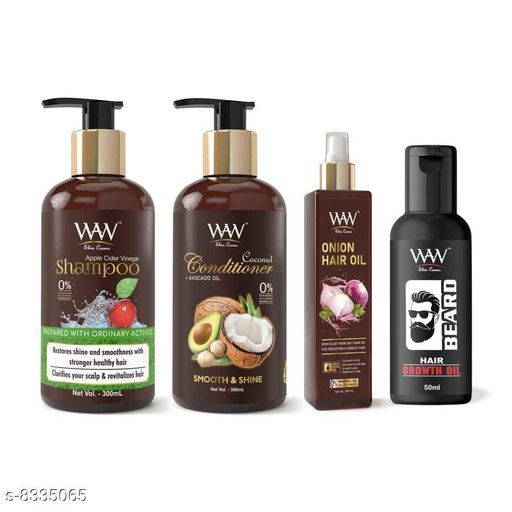Hair Care WAW Apple Shampoo, Coconut Conditioner, Red Onion Oil and Beard Hair Growth Oil Combo  *Product Name* WAW Apple Shampoo, Coconut Conditioner, Red Onion Oil and Beard Hair Growth Oil Combo  *Multipack* 4  *Sizes Available* Free Size *    Catalog Name:  Advanced Restore Shampoo CatalogID_1396451 C50-SC1249 Code: 859-8335065-