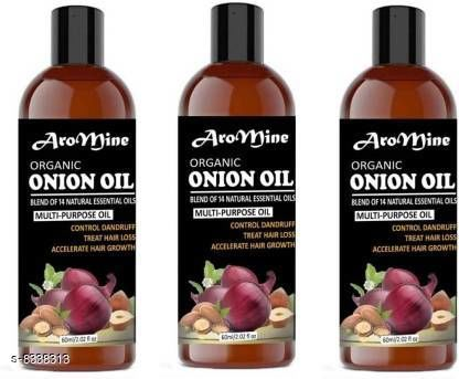 Hair Care Aromine Premium Herbal ONION Hair Oil - Blend of 14 Natural Oils for Hair Regrowth, Treat hair loss, Dandruff Control & Thickens hair Onion Hair Growth Oil - Nourishing Hair Fall Treatment with 100% Real Onion Extract, Argan Oil, Jojoba Oil, Bhringraj, Shea Butter, Mango Butter and More - Intensive Hair Fall Dandruff Treatment Hair Oil (180 ml) Hair Oil (180 ml) Hair Oil (180 ml) Pack of-3-Bottle Hair Oil (180 ml)   *Product Name* Aromine Premium Herbal ONION Hair Oil - Blend of 14 Natural Oils for Hair Regrowth, Treat hair loss, Dandruff Control & Thickens hair Onion Hair Growth Oil - Nourishing Hair Fall Treatment with 100% Real Onion Extract, Argan Oil, Jojoba Oil, Bhringraj, Shea Butter, Mango Butter and More - Intensive Hair Fall Dandruff Treatment Hair Oil (180 ml) Hair Oil (180 ml) Hair Oil (180 ml) Pack of-3-Bottle Hair Oil (180 ml)  *Brand Name* AROMINE  *Type* Hair Oil  *Capacity* 60 ml each  *Multipack* 3  *Sizes Available* Free Size *    Catalog Name:  Advanced Restore Herbal Oil CatalogID_1390623 C50-SC1249 Code: 404-8338313-0021