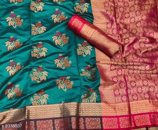 Woven Traditional Patola Saree With Unstitched Blouse Material