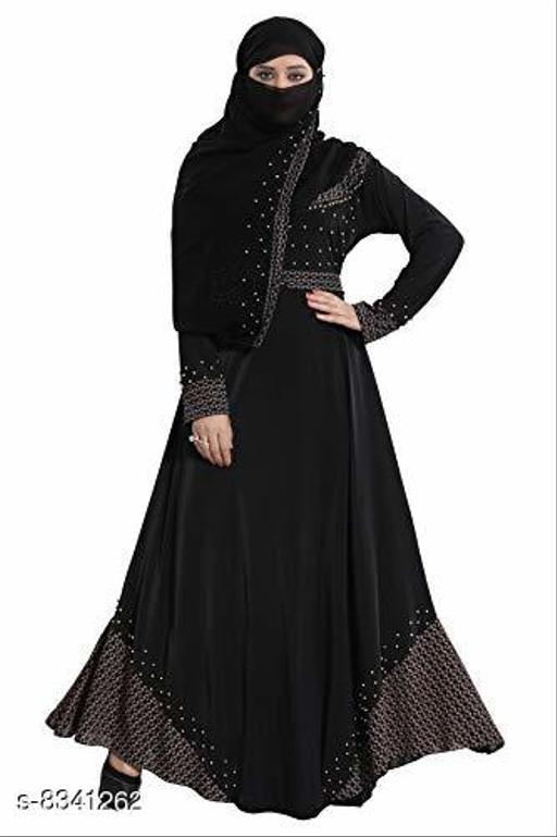 TUCUTE Lycra Abaya Burkha with Waist Belt/ Scarf Hijab (DN381-GOLD DIAMOND)