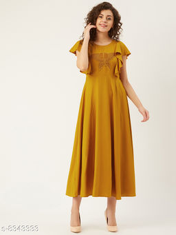U&F Women Mustard Yellow Solid with Butterfly Applique Detail A-Line Dress