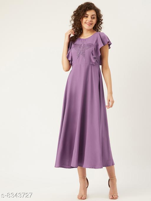U&F Women Purple Butterfly Embroidered Yoke Design Ruffled Maxi Dress