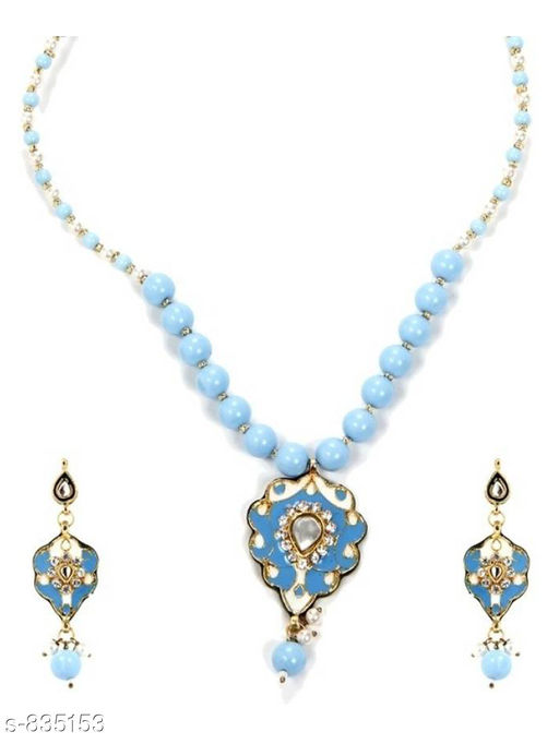 Jewellery Set Women's Trendy Necklace  *Material* Metal  *Size * Free Size  *Description* It Has 1 Piece Of Necklace With 1 Pair Of Earring  *Work* Stone work  *Sizes Available* Free Size *    Catalog Name:  Charming Metal Necklaces Vol 4 CatalogID_96425 C77-SC1093 Code: 962-835153-