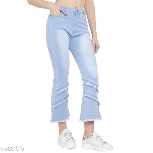 Ladies High Waist Wide Leg Denim Jeans