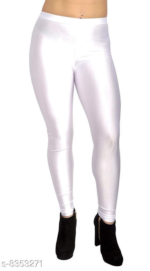 Beautiful White Shiny Leggings for Women's