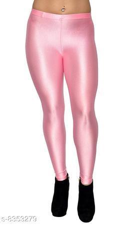 Beautiful Baby Pink Shiny Leggings for Women's