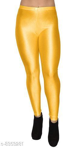 Beautiful M.Yellow Shiny Leggings for Women's