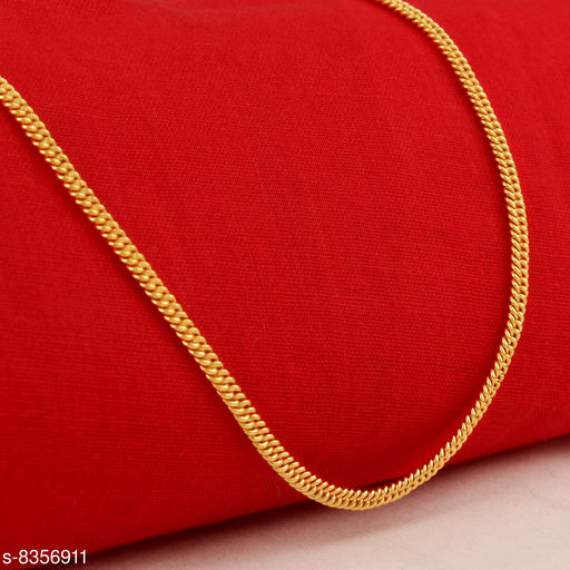Golden Thin Design Necklace Brass Gold Plated Men Chain For Girl