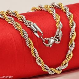 Golden Silver Rope Design Stainless Steel Necklace Men Chain For Men Boys