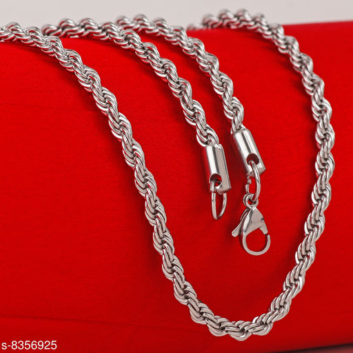 Silver Rope Design Stainless Steel Necklace Men Chain For Men Boys