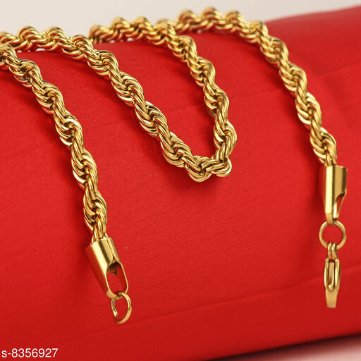 Golden Rope Design Gold Plated Stainless Steel Necklace Men Chain For Men Boys