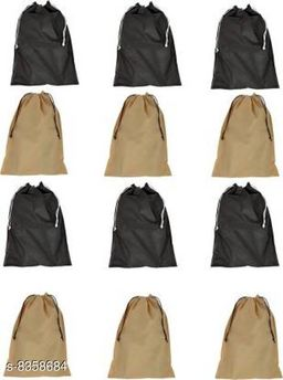 DIMONSIV Pack Of 12 Non Woven Shoe Pouch(black&beige)