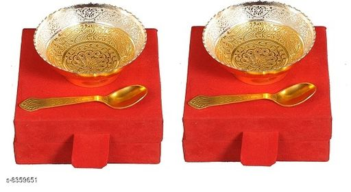 Pooja Needs POOJA NEEDS  *Material* Brass  *No. of Bowls* 2  *No. of Spoons* 2  *Pack* Pack of 2  *Sizes Available* Free Size *    Catalog Name: POOJA NEEDS CatalogID_1402091 C128-SC1315 Code: 483-8359651-