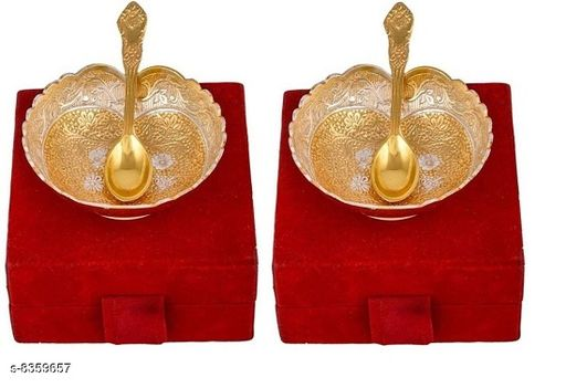 Pooja Needs POOJA NEEDS  *Material* Brass  *No. of Bowls* 2  *No. of Spoons* 2  *Pack* Pack of 2  *Sizes Available* Free Size *    Catalog Name: POOJA NEEDS CatalogID_1402091 C128-SC1315 Code: 483-8359657-