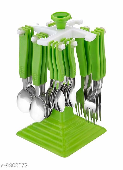 Premium Regent Cutlery Set with Stand Made from Stainless Steel and ABS Plastic - Green (Set of 24 Pcs.)