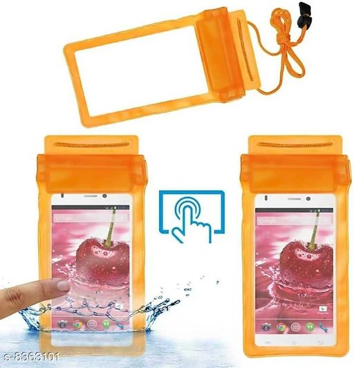 Mobile Cases & Covers Waterpoof Mobile Pouch  *Product Name* Waterpoof Mobile Pouch  *Material* Plastic  *Color* Orange  *Multipack* 1  *Sizes Available* Free Size *    Catalog Name:   Cases & Covers CatalogID_1402828 C88-SC1333 Code: 671-8363101-