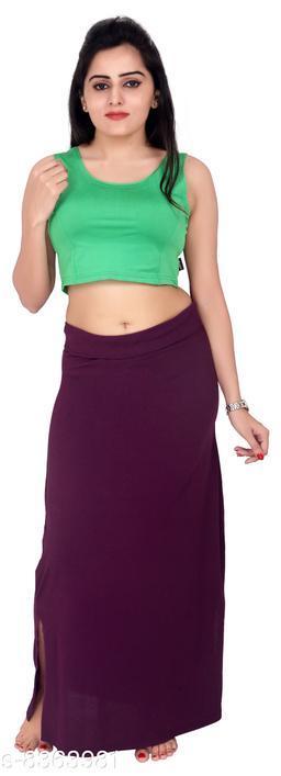 Comix Women Lycra Fabric Comfort Fit Long Length Plain Shiney Petticoat Shapewear (Darkpurple,L)