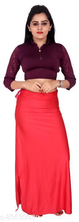 Comix Women Lycra Fabric Comfort Fit Long Length Plain Shiney Petticoat Shapewear (Coral,L)