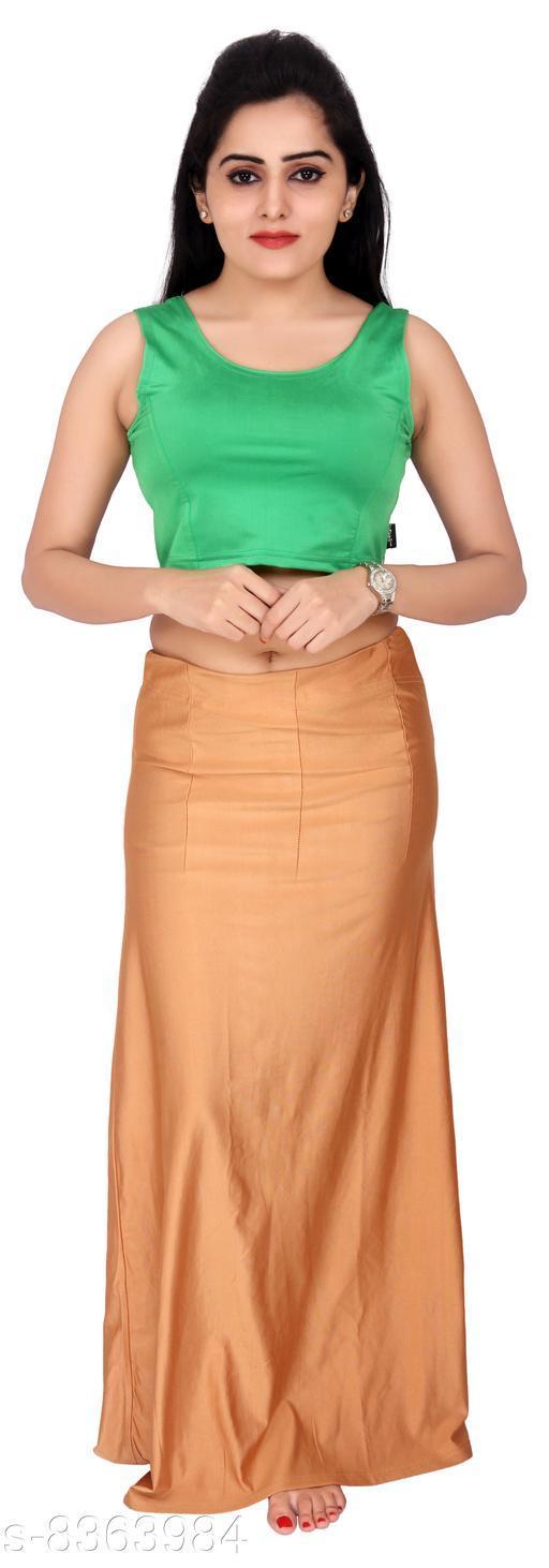 Comix Women Lycra Fabric Comfort Fit Long Length Plain Shiney Petticoat Shapewear (Darkgold,L)