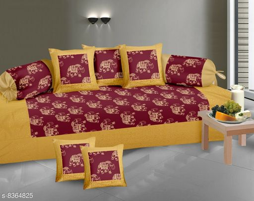 Diwan Sets  *Gold Print Diwan set 100% cotton 180 TC set of 8 (1+2+5) Beautiful design, Export Quality perfect match for your diwan or single bed * )  *Bedsheet Fabric* Cotton  *Bolster Cover Fabric* Cotton  *Cushion Cover Fabric* Cotton  *No. of Bedsheets* 1  *No. of Bolster Covers* 2  *No. of Cushion Covers* 5  *Thread Count* 180  *Print or Pattern Type* Animal  *Multipack* 1  *Sizes*   *Free Size (Bedsheet Length Size* 90 in, Bedsheet Width Size  *Sizes Available* Free Size *    Catalog Name: Graceful Attractive Diwan Sets CatalogID_1403192 C117-SC1107 Code: 239-8364825-9952