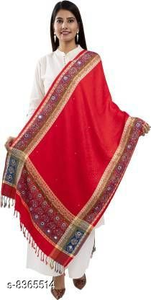 Viscose Printed Women Red Shawl
