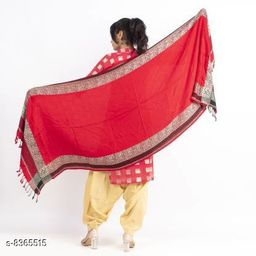Devi Collection Viscose Solid Women Red Shawl