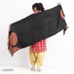 Devi Collection Viscose Printed Women Black Shawl